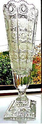 Antique Abpcg 16 Pedestal Vase Queen's Panel Hobstar Rare Oval Hand Cut Crystal