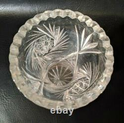 Antique American Brilliant Cut Glass Crystal Vase 9.5 Pinwheel Sawtooth Corset