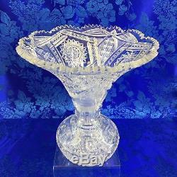 Antique American Brilliant Wide Mouth Trumpet Sawtooth Cut Crystal 10 Vase APB