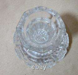 Antique American brilliant hand cut clear crystal ornate bud flower vase glass