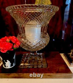 Antique Anglo Irish Cut Glass Crystal Hurricane Vase Georgian