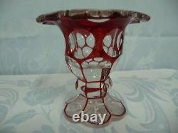 Antique Bohemain Moser Ruby To Clear Cut Crystal Vase Or Footed Bowl