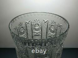 Antique Bohemia Crystal Queen Lace Cut Unique Footed Vase 12 Tall