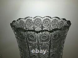 Antique Bohemia Crystal Queen Lace Cut Unique Vase 10 1/4 Tall