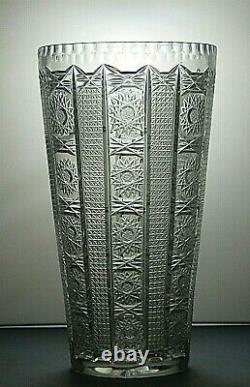 Antique Bohemia Crystal Queen Lace Cut Unique Vase 14 Tall(see Description)