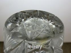 Antique Bohemia Crystal Queen Lace Cut Unique Vase 8 Tall