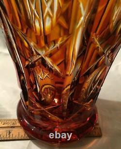 Antique Bohemian Amber Cut Crystal to Clear Czech Art Glass Trumpet Vase Vtg