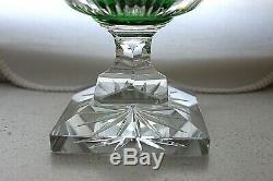 Antique Bohemian Carl Goldberg emerald green cut to clear crystal vase c 1900