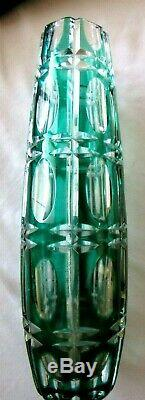 Antique Bohemian Czech EMERALD GREEN CUT-TO-CLEAR 9 Crystal Vase