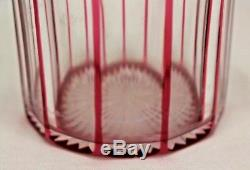 Antique Bohemian Glass Wine Bottle Decanter Ruby Red cut to Clear Crystal