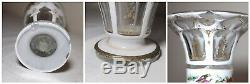 Antique Bohemian Moser cut to clear crystal enameled painted glass white vase