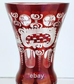 Antique Bohemian cut Glass Art vase Czech cased ruby red to clear crystal Bird