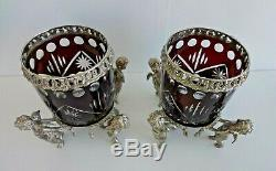 Antique Cranberry Cut Crystal & Cherub Silver-plate Vases Attributed J. W. Tufts