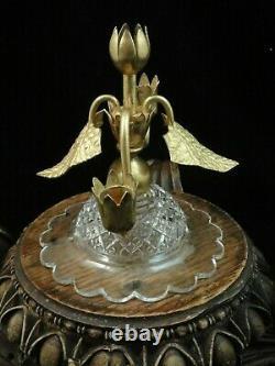 Antique Crystal Cut Art Glass & Gold Leaf Epergne Stand John Walsh Walsh Era