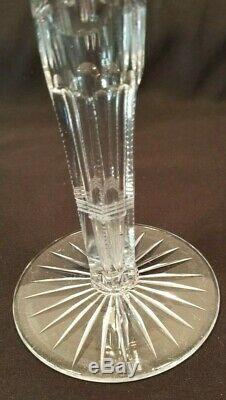 Antique Cut Glass Crystal Vase 3 Sided, Thumb Cut, Beaded, Trumpet wStars. Diamonds