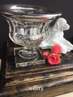 Antique Cut Glass Crystal Vase Urn Sterling Silver Mount