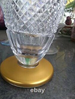 Antique Czech Bohemian Crystal Diamond & Panel Cut Glass Gold Gild 10 Vase