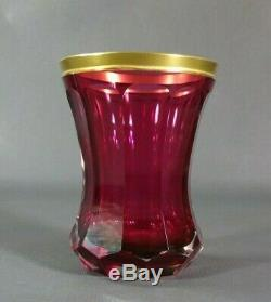 Antique Czech Glass Moser Ruby Red Cut Crystal Tumbler Vase Jofef Hoffmann Work
