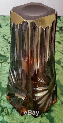 Antique Dorflinger Rare Amber Crystal Cut Engraved Etched Paneled Polished Vase