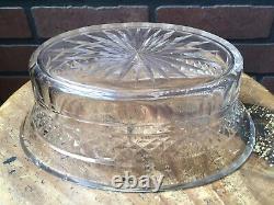 Antique FRANCE Hand Cut Crystal Trinket Candy Dish Bronze / Brass Vase Pedestal