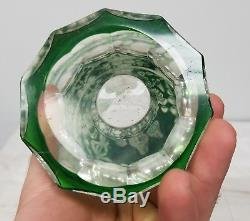 Antique Floral Fine Cut Glass Crystal Green to Clear Vase Chipped As IS