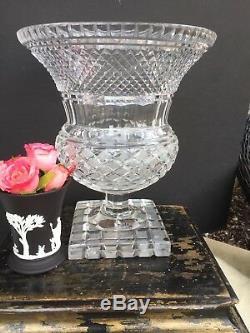 Antique Georgian Cut Glass Crystal Medici Urn Vase Hurricane