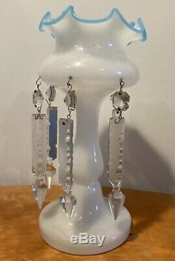 Antique LUSTRE VASE Victorian MILK GLASS Cut Crystal Drops