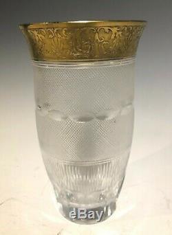 Antique Moser Large Gilt Cut Crystal Signed Art Glass Vase