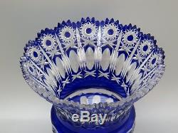 Antique Rare Bohemian/bohemia Crystal Hobstar Cut To Clear Cobalt Blue Vase