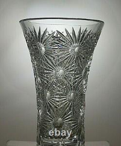 Antique Rare Lead Crystal Cut Glass Unique Vase 7 7/8 Tall