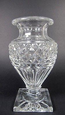 Antique SAINT LOUIS French Crystal Medicis Vase Diamond Cut Footed Signed
