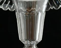Antique Set 2 French Style Cut Crystal Val St Lambert Large Vases Urns Pair