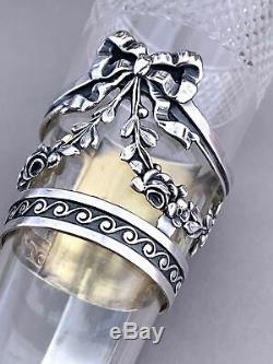 Antique Vase Crystal Cut Suport German Sterling Silver