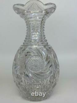 Antique Victorian American Brilliant Glass ABP Cut Crystal Console Baluster Vase