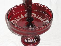 Antique Victorian Bohemian 2 Pc Ruby Red Crystal Cut Art Glass Centerpiece Vase