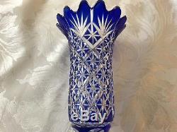 Antique Victorian Cobalt Blue Cut Crystal Glass Vase