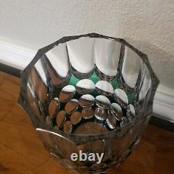 Antique Vintage Emerald Green Cut To Clear Val St Lambert Crystal Vase Signed
