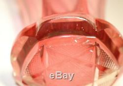 Antique gold gilded intricately cut crystal cranberry glass Moser Bohemian vase