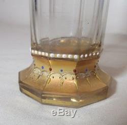 Antique handmade Moser enameled gilt clear cut crystal glass 10 sided bud vase