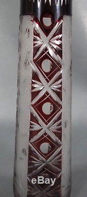 Art Deco Bohemian Czech Dark Ruby Red Cut to Clear Crystal Glass Vase 9