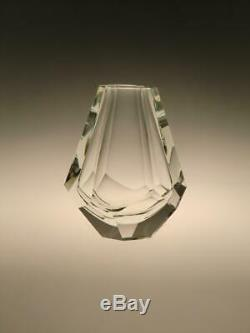 Art Deco Crystal Clear Cut to Facet Glass Vase Hoffmann Faceted Bohemian Decor