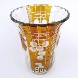 Art Deco Vase, Bernstein-Beize, Schälschliff, Gravur, Cut Crystal, Haida, Böhmen 1920