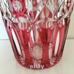 Art Deco cranberry crystal cut glass vase Bohemian glass vase antique vase