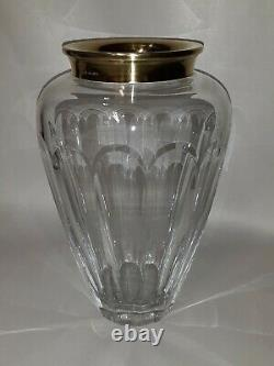 Asprey and Co. Vintage Sterling Silver Mounted Cut Crystal Art Glass Vase