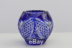 BLUE Cut to clear Overlay Cased Crystal Flower Vase, Ball 12 cm high, Russia