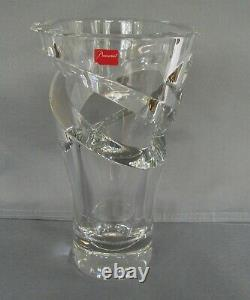 Baccarat Crystal TORANDO Cut Out Clear Spiral Vase 9 France 2103220 Gorgeous