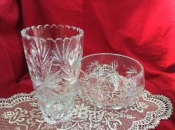Bavarian Cut Crystal Vase and Fruit Bowl Set German Quality Leaded Vintage