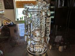Beautiful Antique Cut Glass With Crystals Bud Vase