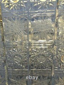 Beautiful Antique Hand Cut Crystal Square Vase
