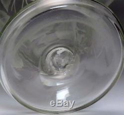 Beautiful Antique Intaglio Cut Crystal Glass Trumpet Vase w Fruit Design